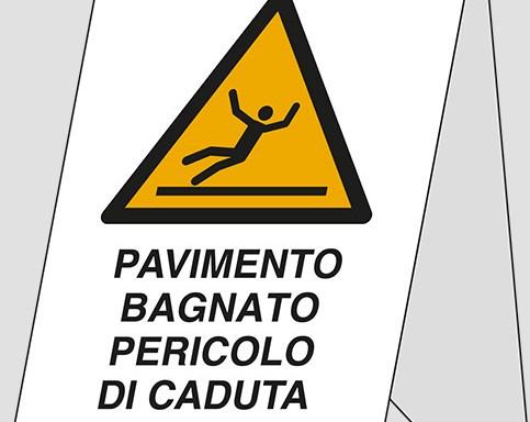 (bifacciale) PAVIMENTO BAGNATO PERICOLO DI CADUTA