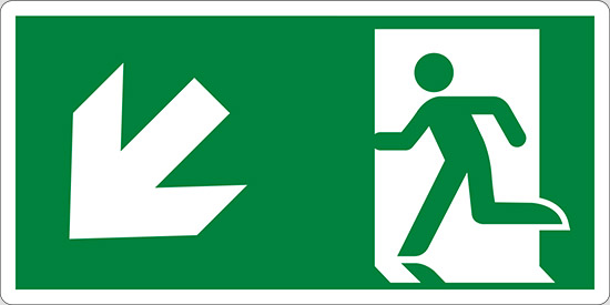 (uscita di emergenza in basso a sinistra – emergency exit down and left)
