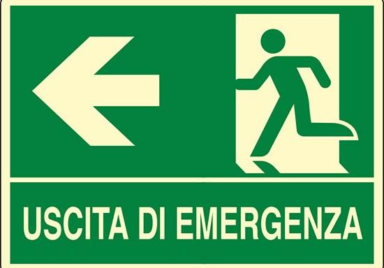 USCITA DI EMERGENZA (a sinistra) luminescente