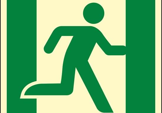 (uscita di emergenza a destra – emergency exit right hand) luminescente
