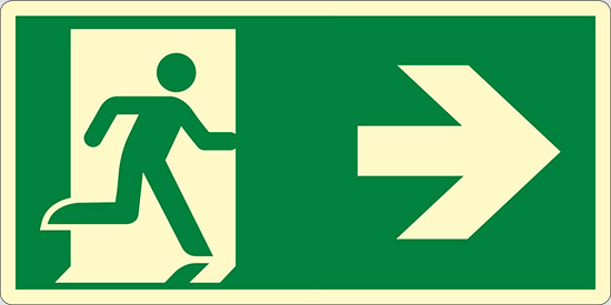 (uscita di emergenza a destra – emergency exit right hand) luminescente