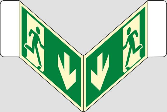 "(uscita di emergenza in basso) a ""V"" luminescente"