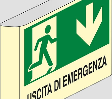 USCITA DI EMERGENZA (in basso) a bandiera luminescente