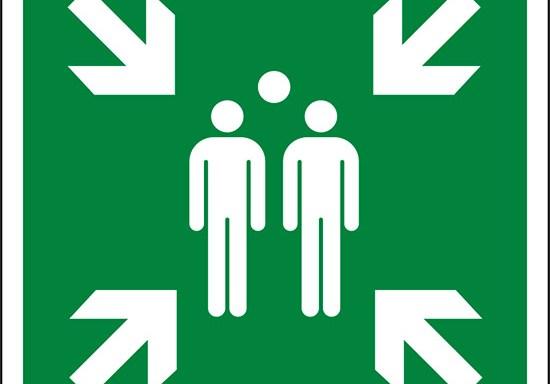 (punto di ritrovo ed evacuazione – evacuation assembly point)