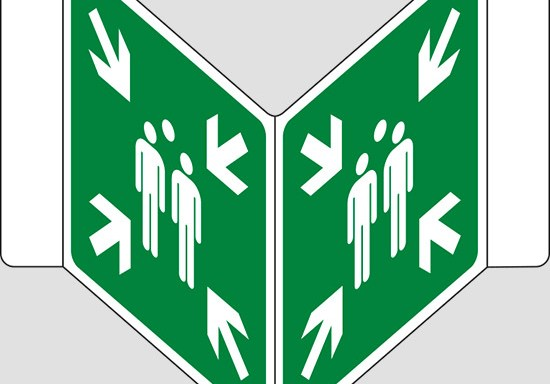 """(punto di ritrovo ed evacuazione – evacuation assembly point) a """"V"""""""
