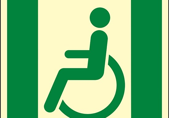(uscita di emergenza per persone incapaci di camminare o con problemi di deambulazione a sinistra – Emergency exit for people unable to walk or with walking impairment left hand) luminescente