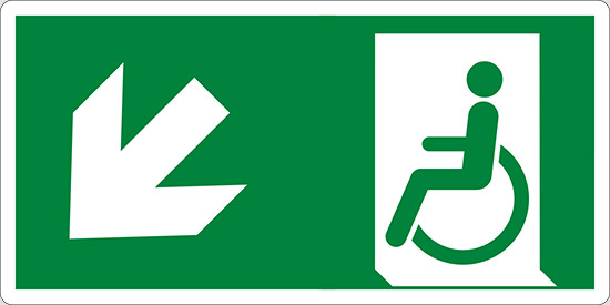 (uscita di emergenza disabili in basso a sinistra – emergency exit for people unable to walk down and left)