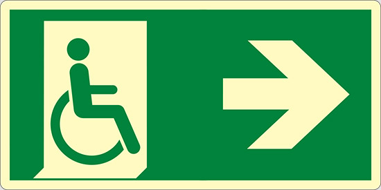 (uscita di emergenza disabili a destra – emergency exit for people unable to walk right hand) luminescente
