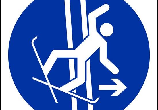 (lasciare immediatamente la pista nel caso di caduta – immediately leave the tow-track in the event of falling)
