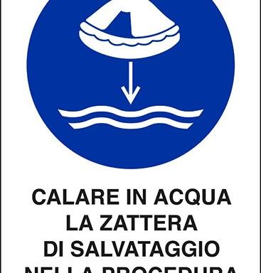 CALARE IN ACQUA LA ZATTERA DI SALVATAGGIO NELLA PROCEDURA DI LANCIO IN MARE