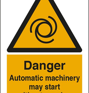 Danger Automatic machinery may start without warning