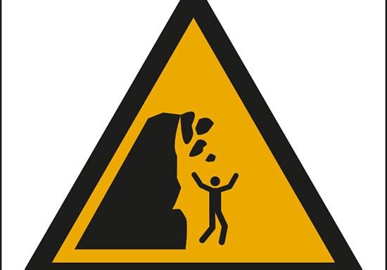 (attenzione; scogliera instabile – warning; unstable cliff)