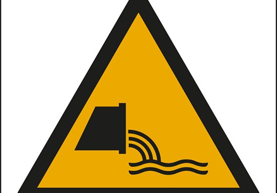 (attenzione; deflusso acque reflue – warning; sewage effluent outfall)