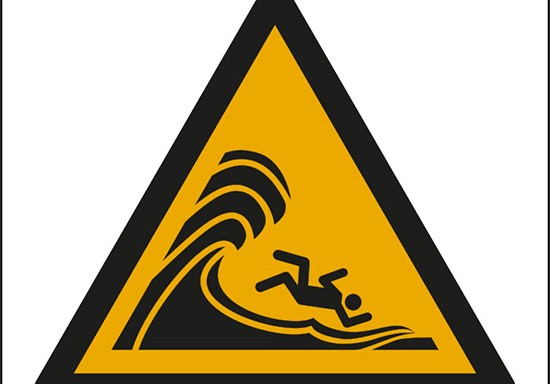 (attenzione; onde alte o grandi – warning; high surf or large breaking waves)