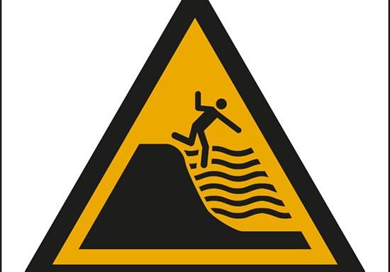 (attenzione; buca profonda – warning; deep shelving beach)
