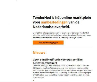 TenderNed storing: geen email bericht