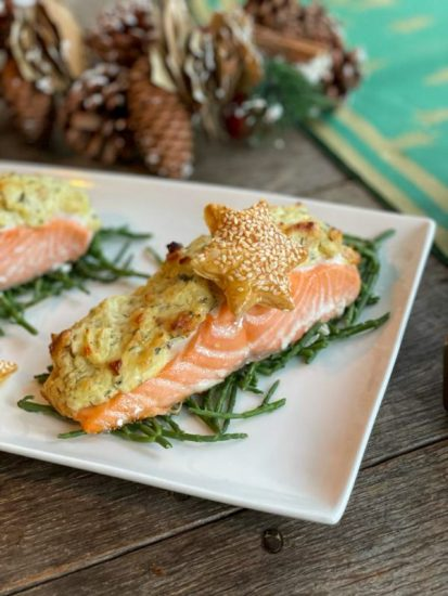 Zalm met romige crunch topping
