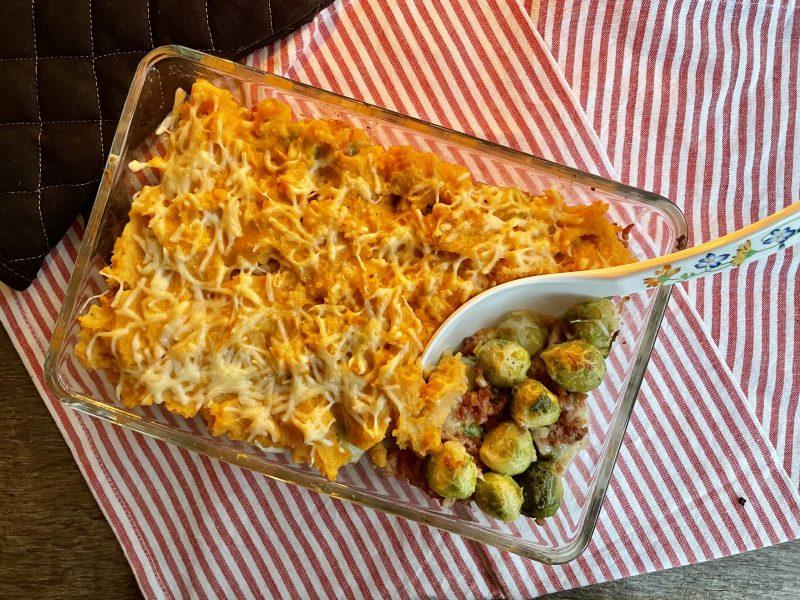 Ovenschotel spruiten kaas zoete aardappel