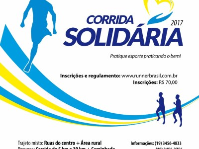 Corrida Solidária 2017: dia 01 de outubro, inscreva-se já!