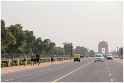 A picture from his walk near India Gate, Delhi