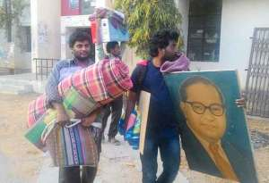 Dalit students expelled from hostels of Hyderabad Central University.
