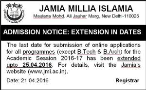 Jamia Admissions: Jamia extends last date to April 25, 2016