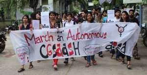 Jadavpur University students march for an autonomous CGSAASH