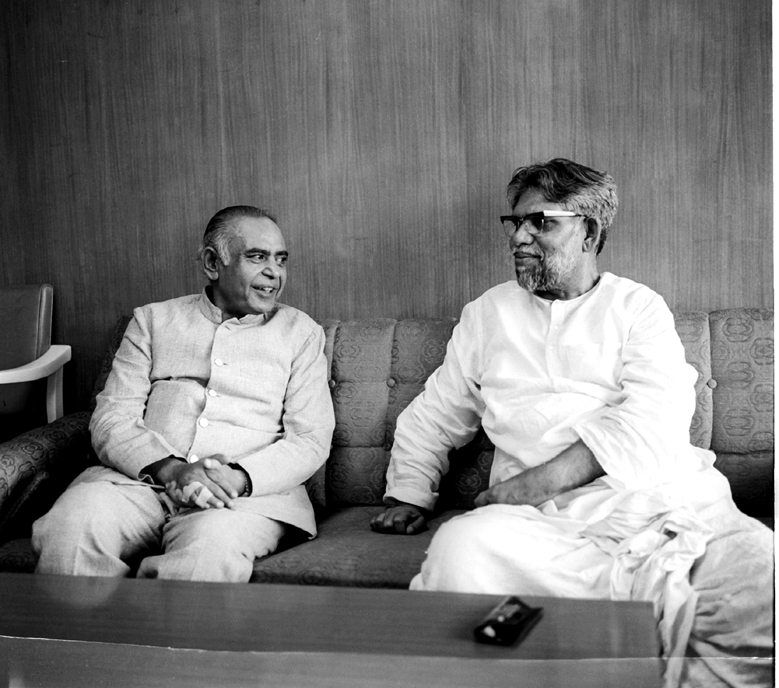 Barkatulla Khan, Chief Minister of Rajasthan called on Shri Bhola Paswan Shastri, Minister of Work and Housing in New Delhi on June 12, 1973.
