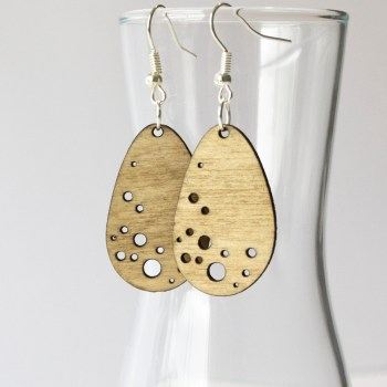 Pendant Earring Plywood - Bubble drop design laser cut - Aardwolf Design