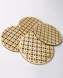 Birch wood Deco coasters. Aardwolf Design.