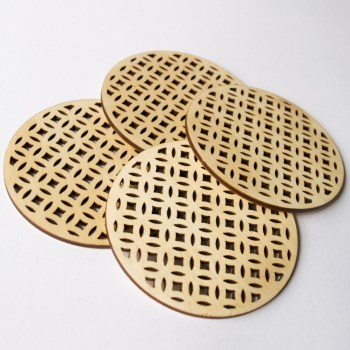 Birch wood Deco coasters. Aardwolf Design.