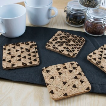 Triangle Fade Coaster Design - Aardwolf Design - Cork Coasters Set of 4