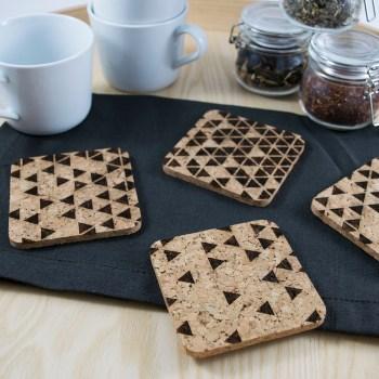 Triangle Fade Coaster Design - Aardwolf Design - Cork Coasters Set of 4