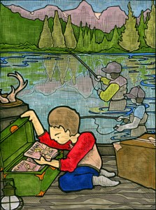 Brian Ness's illustration of me, Dad and my brother at Sprague Lake.