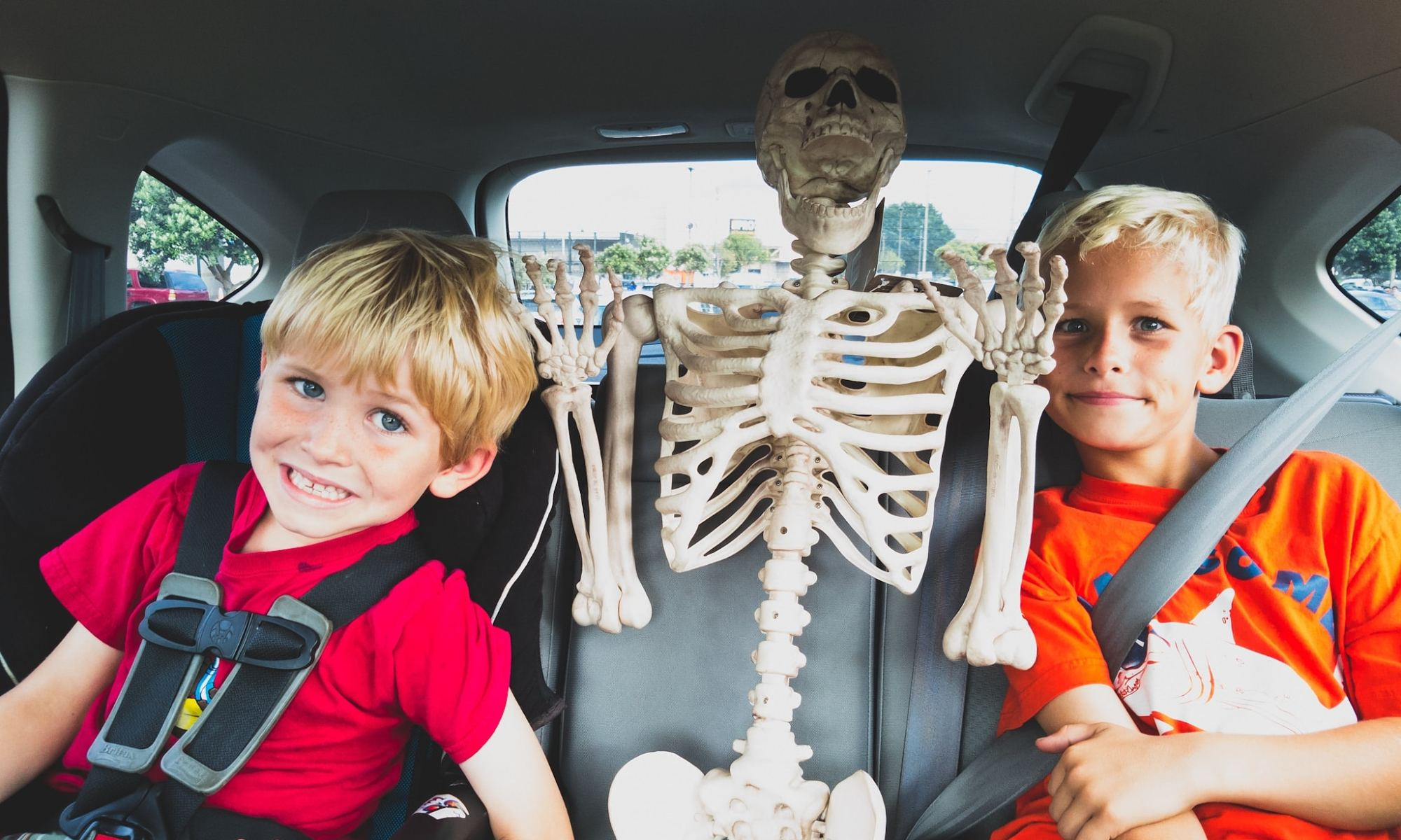 Elliot & Dylan in the backseat