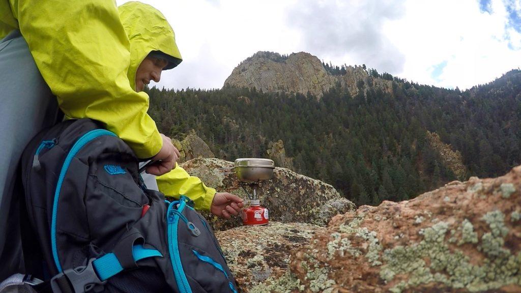 Firing up a brew on Eagle Peak USAFA Colorado