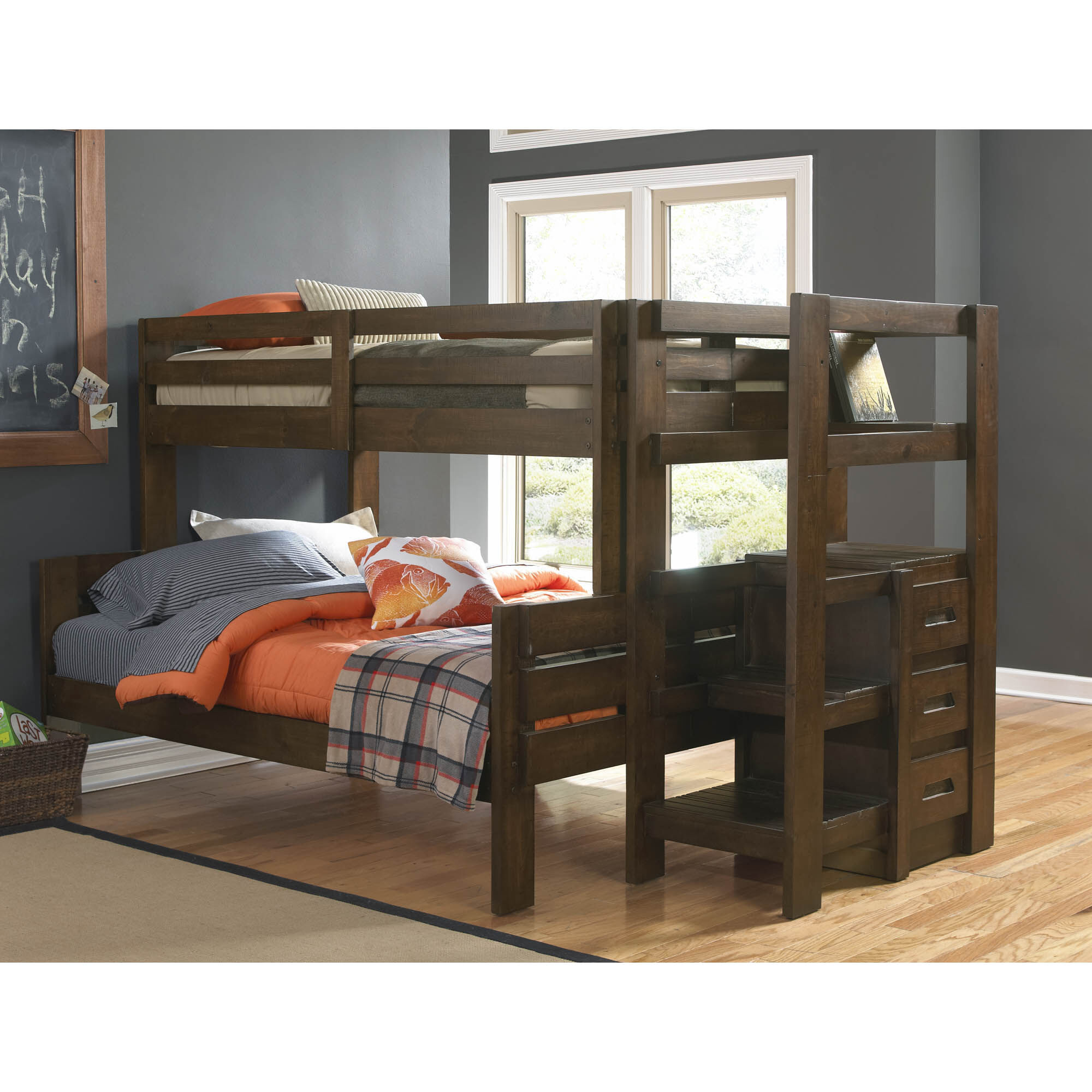 Oak Furniture West Bedroom Groups Twin Plus Full Storage Bunk Bed