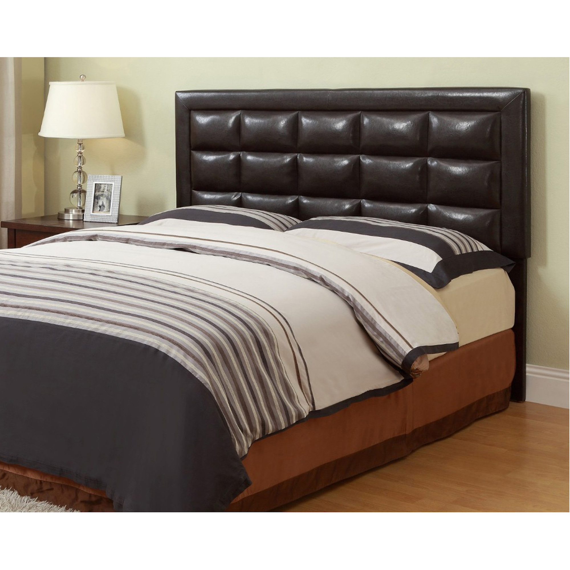 Rent To Own Crown Mark Inc Queen Faux Leather Headboard With Tight Top Mattress And Base At Aaron S Today