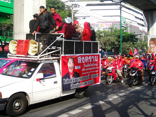 Convoy of Red Shirts Traveling Down Sukhumvit Rd.