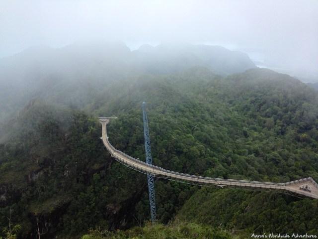 A sky bridge between mountains in Langkawi, Malaysia