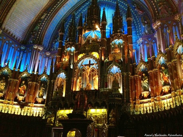 The stunning interior of Montreal's Notre Dame Basilica