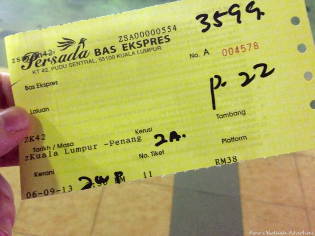 My bus ticket from KL to Penang