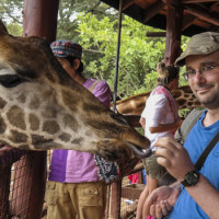 Feeding a Giraffe at Nairboi's Giraffe Center!  As featured on http://www.aaronswwadventures.com/