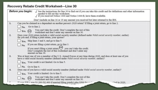 screenshot of a portion of the i r s recovery rebate credit worksheet