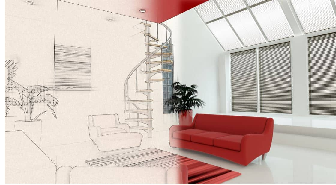 Interior sketch of a house - Interior design ideas to plan during insulation