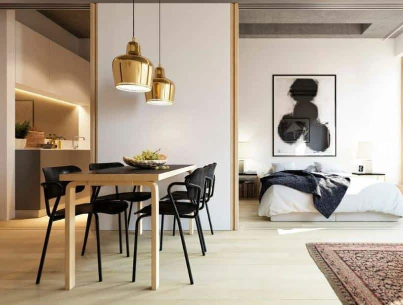 Space divided into kitchen, bathroom and bedroom - Layout ideas for Studio apartments