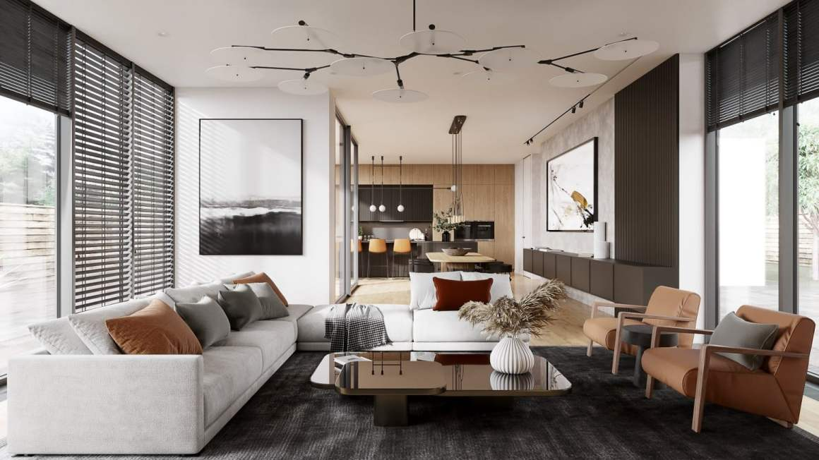 Space with two environments: living room and kitchen - 5 marketing tips for an Interior Designer