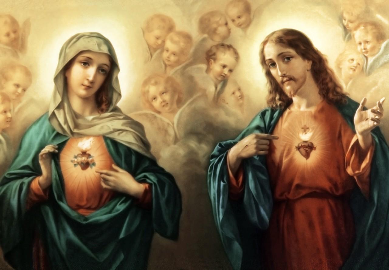 Resultado de imagem para sagrado coração de jesus e sagrado coracao de maria