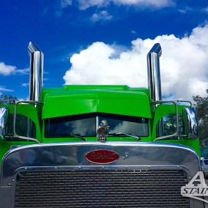 Visor Straight for Paint, Peterbilt 370 Series & 380 Series with 6 Lights 1 lines  Part#: 010101.2.1.21111  $570