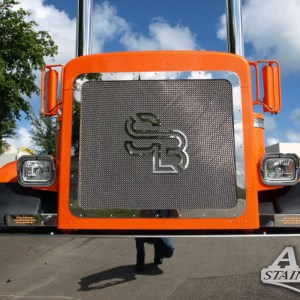 Grill Mesh with Logo CUSTOM SS for Peterbilt 379 Part#: 010103.1.0.15  Call for Price!